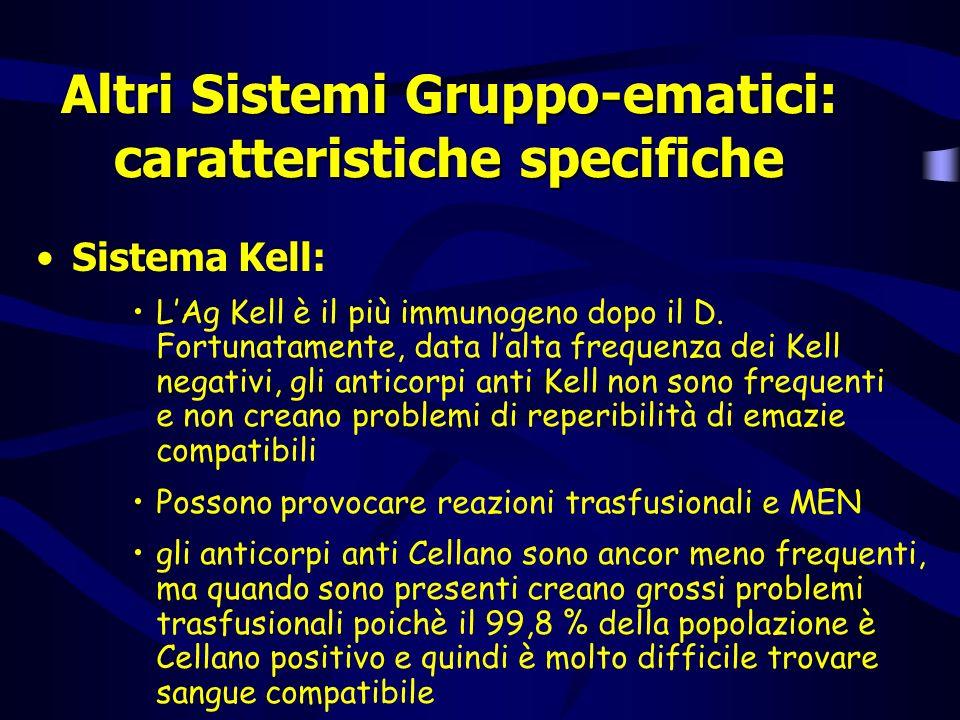 Altri Sistemi Gruppo-ematici: caratteristiche specifiche