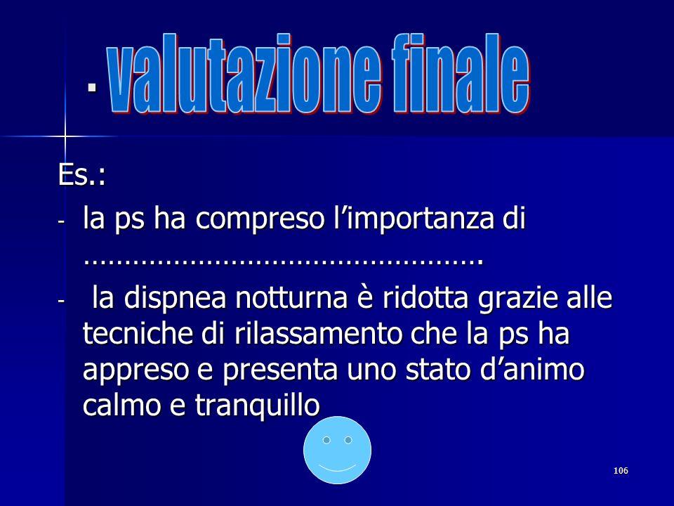 . valutazione finale Es.: