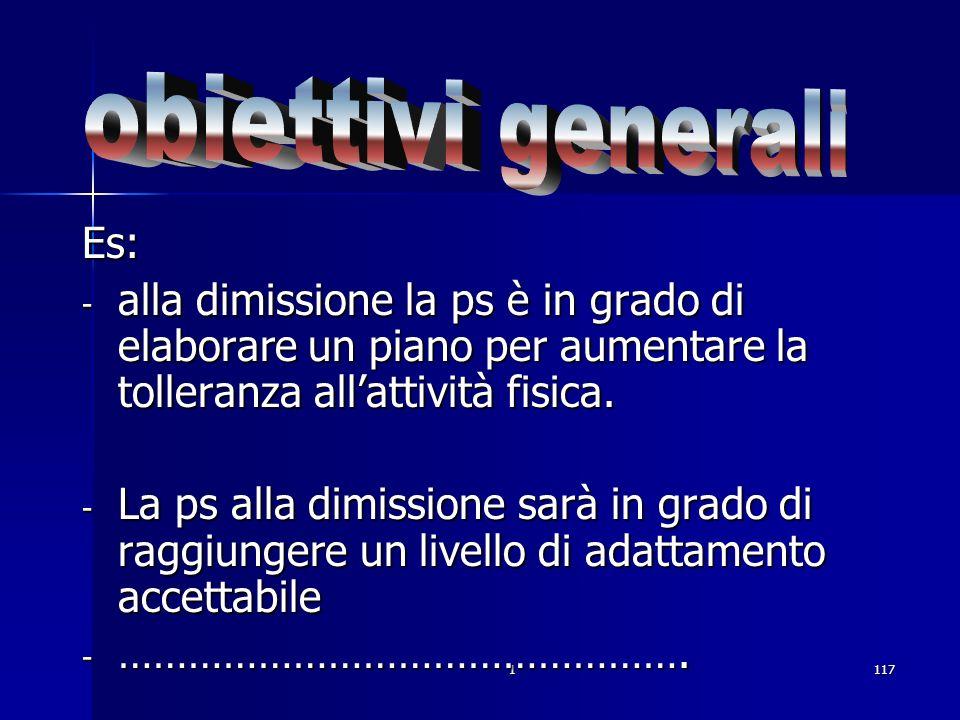 . obiettivi generali Es:
