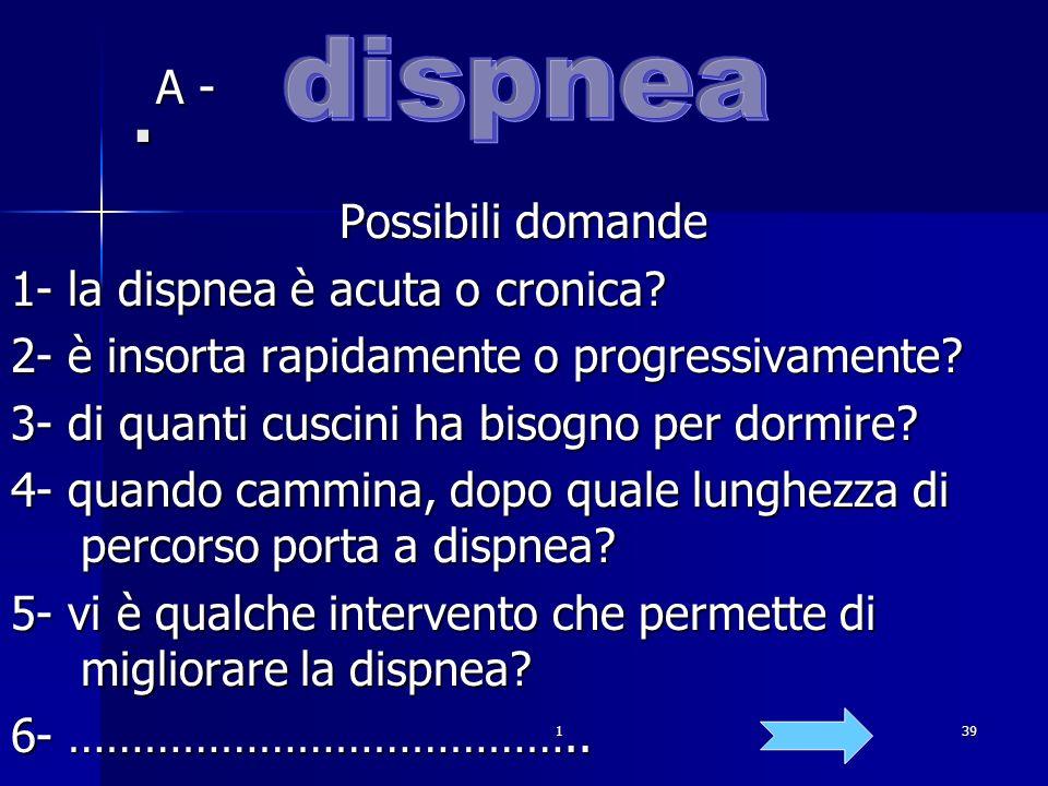 . dispnea A - Possibili domande 1- la dispnea è acuta o cronica