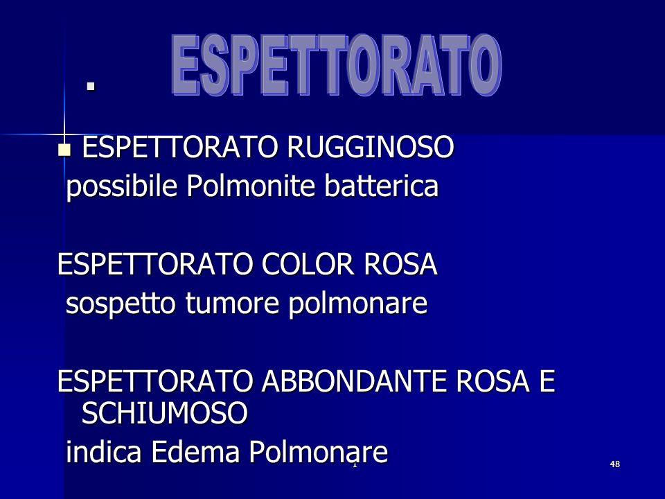 . ESPETTORATO ESPETTORATO RUGGINOSO possibile Polmonite batterica