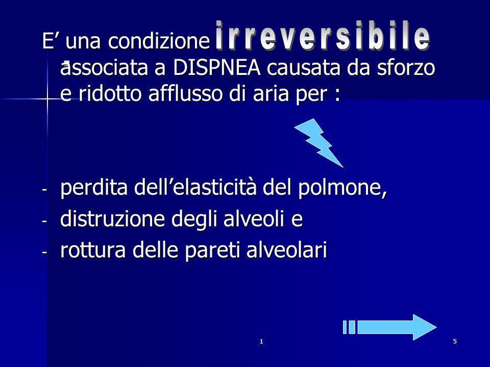 . irreversibile. E' una condizione associata a DISPNEA causata da sforzo e ridotto afflusso di aria per :