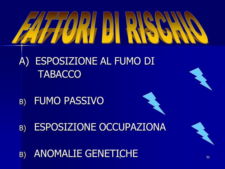 . FATTORI DI RISCHIO A) ESPOSIZIONE AL FUMO DI TABACCO FUMO PASSIVO