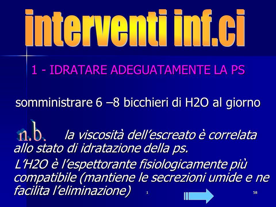 . interventi inf.ci n.b. 1 - IDRATARE ADEGUATAMENTE LA PS
