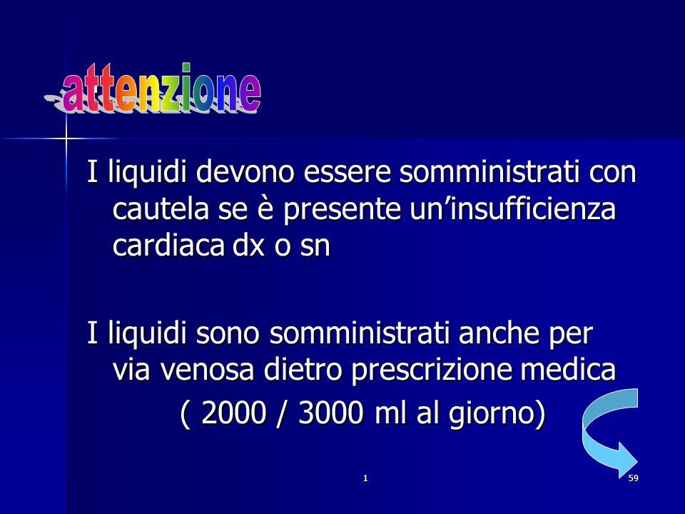 . attenzione. I liquidi devono essere somministrati con cautela se è presente un'insufficienza cardiaca dx o sn.