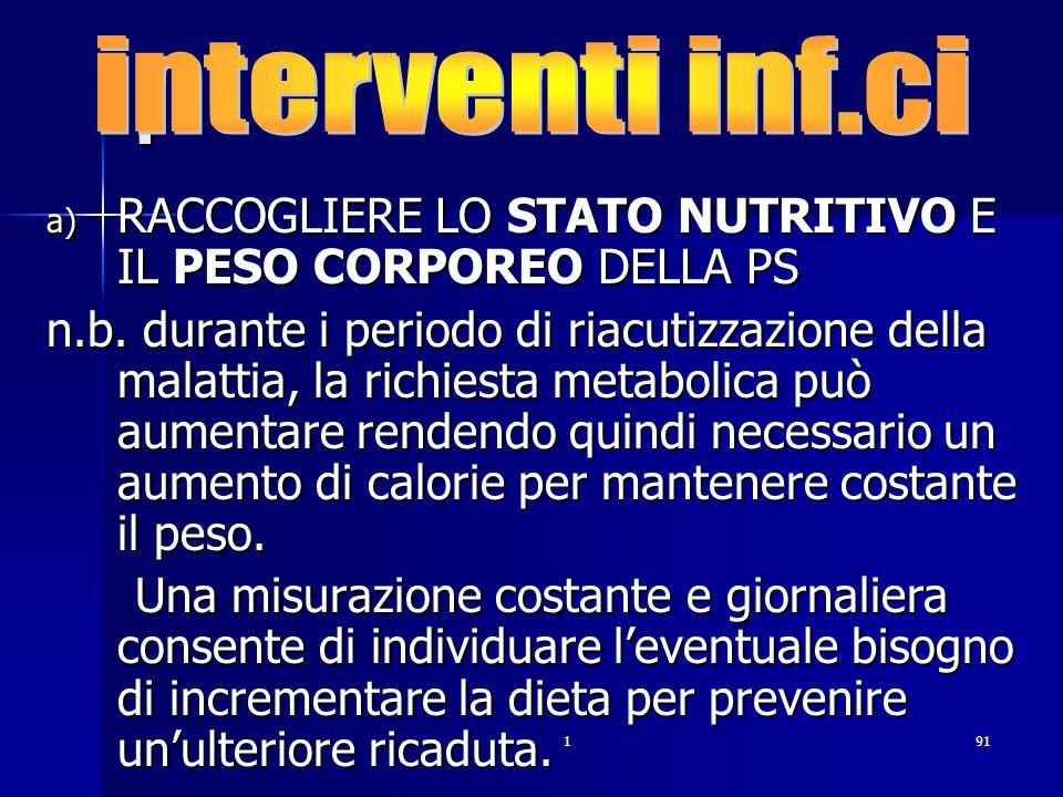 interventi inf.ci . RACCOGLIERE LO STATO NUTRITIVO E IL PESO CORPOREO DELLA PS.