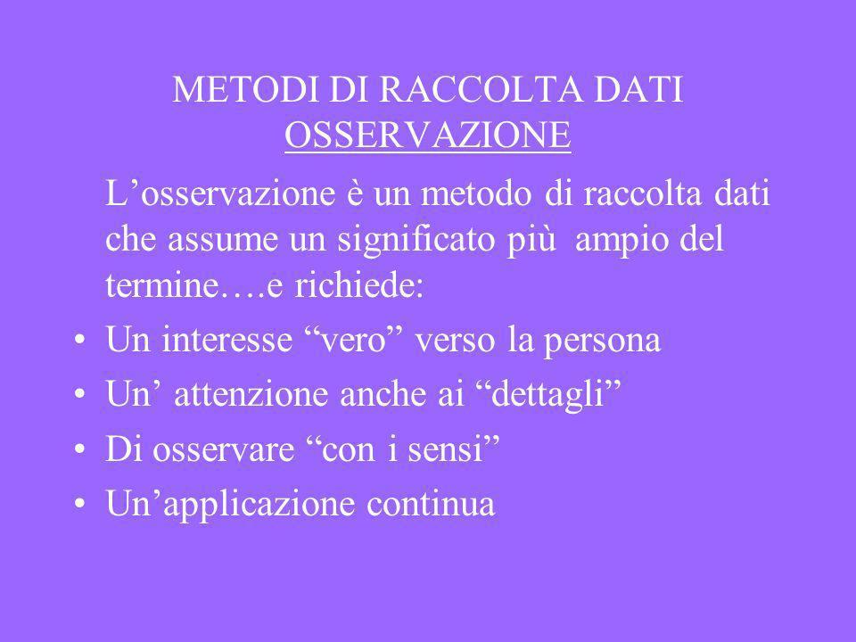 METODI DI RACCOLTA DATI OSSERVAZIONE