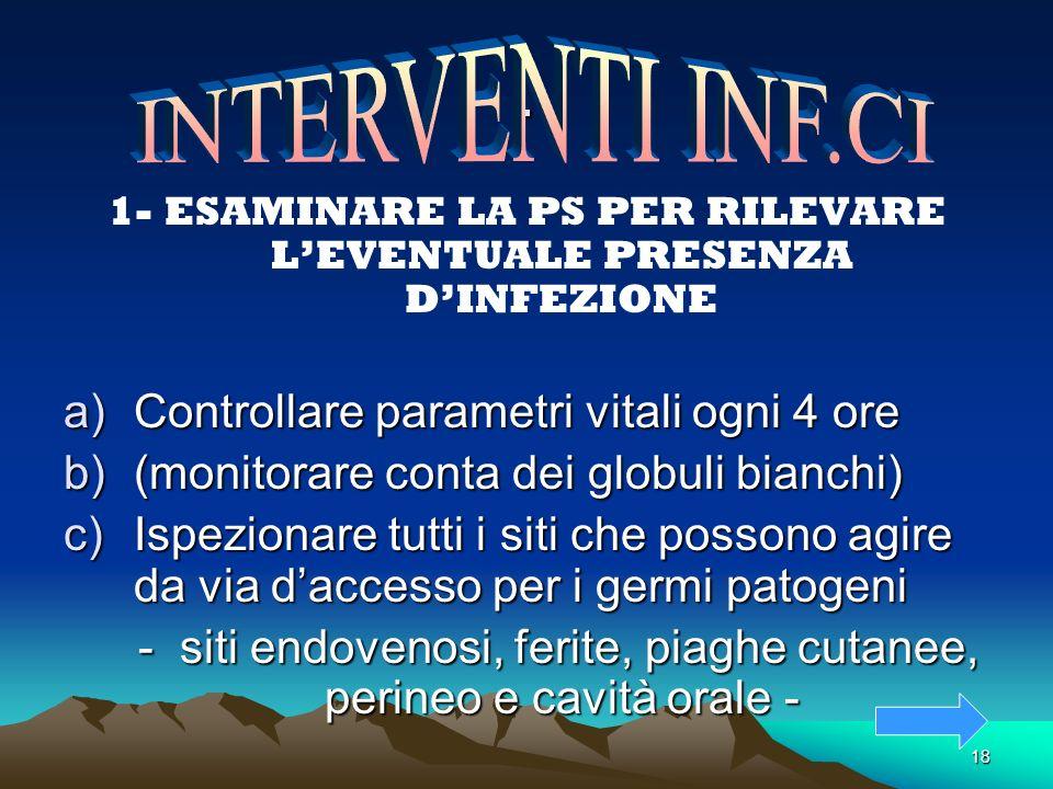 . INTERVENTI INF.CI Controllare parametri vitali ogni 4 ore