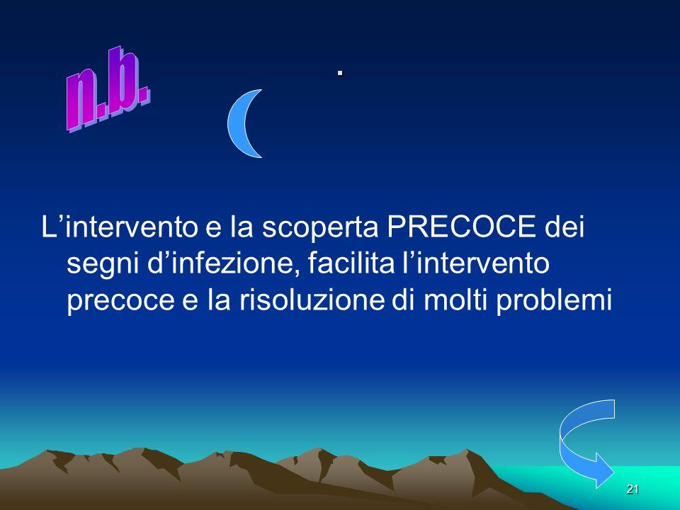 . L'intervento e la scoperta PRECOCE dei segni d'infezione, facilita l'intervento precoce e la risoluzione di molti problemi.