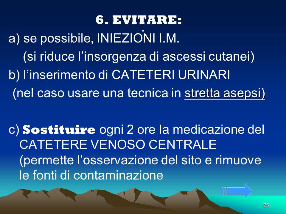 . 6. EVITARE: a) se possibile, INIEZIONI I.M.
