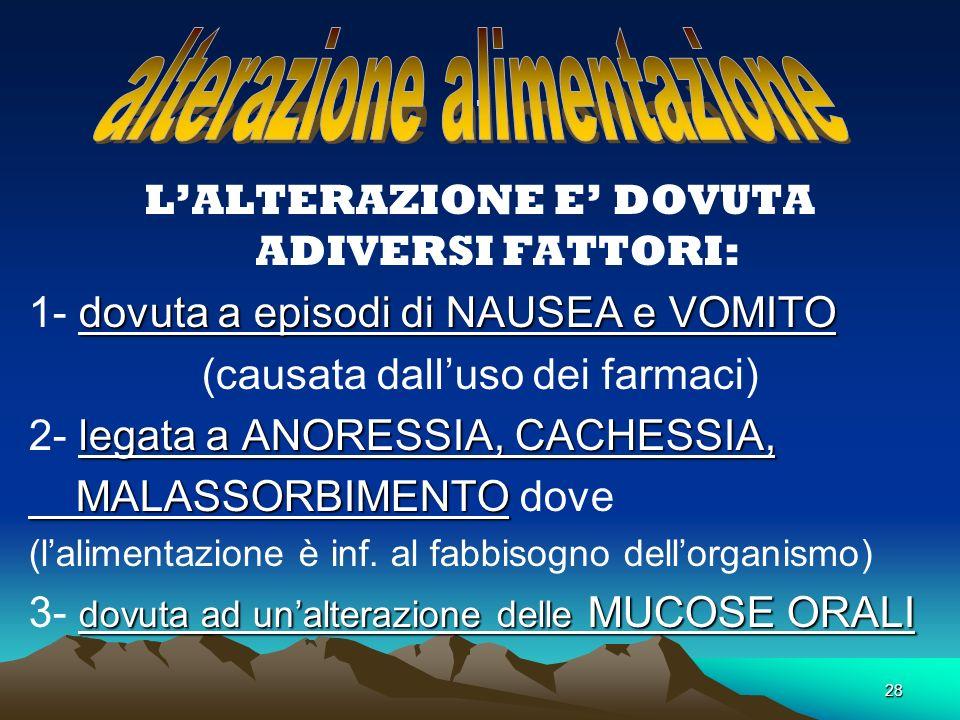 . alterazione alimentazione L'ALTERAZIONE E' DOVUTA ADIVERSI FATTORI: