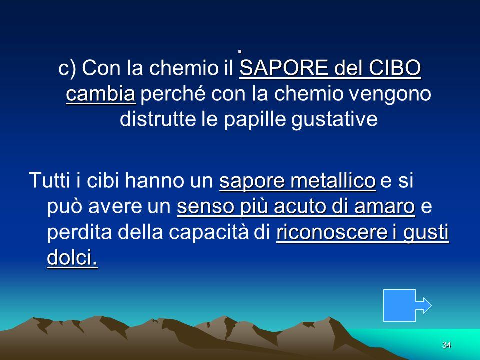 . c) Con la chemio il SAPORE del CIBO cambia perché con la chemio vengono distrutte le papille gustative.