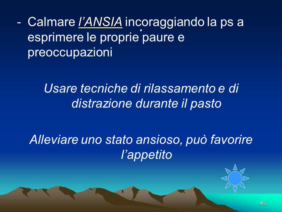 . Calmare l'ANSIA incoraggiando la ps a esprimere le proprie paure e preoccupazioni.