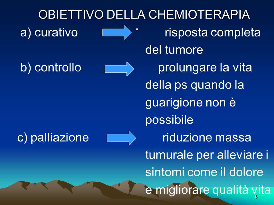 . OBIETTIVO DELLA CHEMIOTERAPIA a) curativo risposta completa