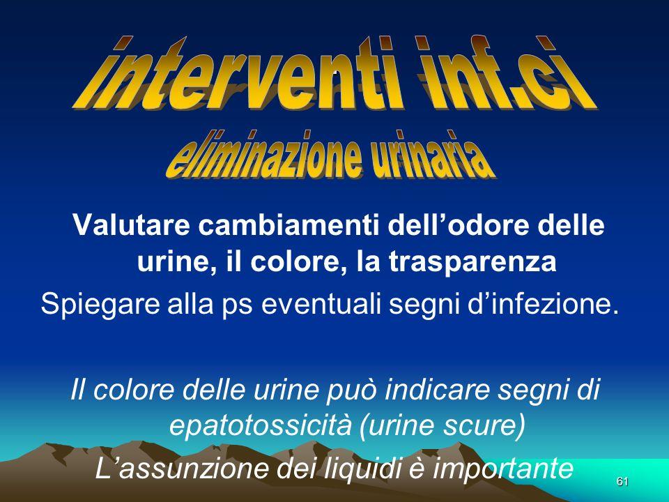. interventi inf.ci eliminazione urinaria