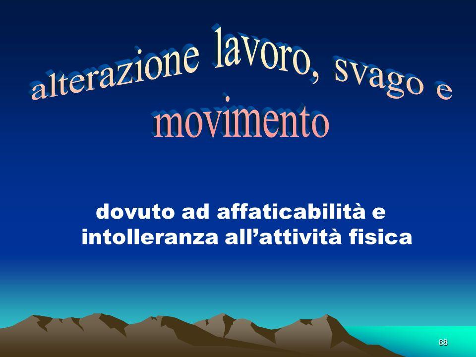 . alterazione lavoro, svago e movimento