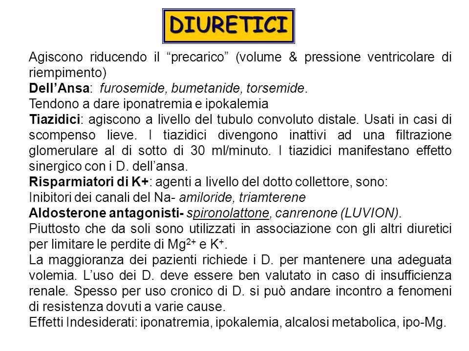 DIURETICI Agiscono riducendo il precarico (volume & pressione ventricolare di riempimento) Dell'Ansa: furosemide, bumetanide, torsemide.