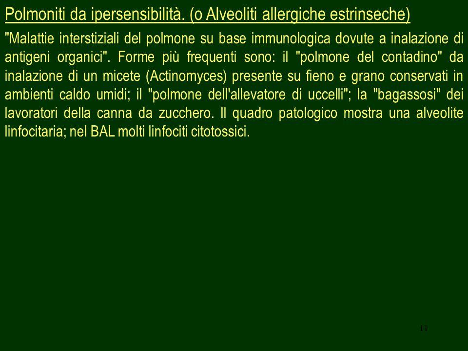 Polmoniti da ipersensibilità. (o Alveoliti allergiche estrinseche)