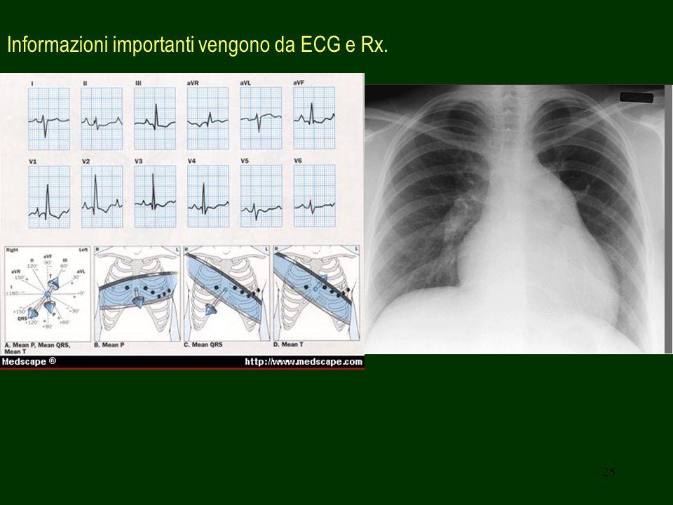 Informazioni importanti vengono da ECG e Rx.