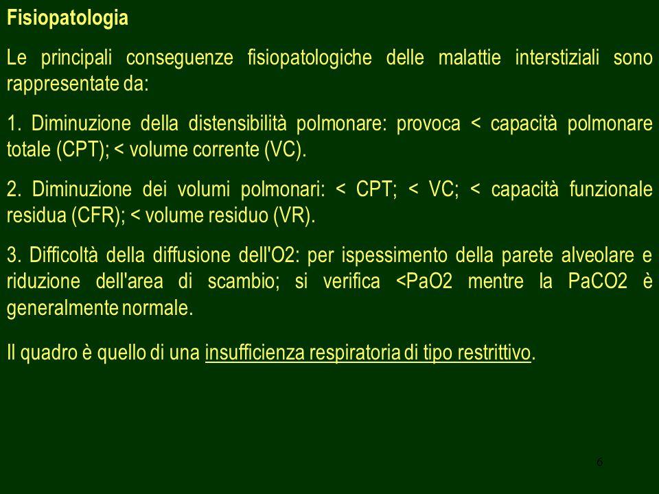 Fisiopatologia Le principali conseguenze fisiopatologiche delle malattie interstiziali sono rappresentate da: