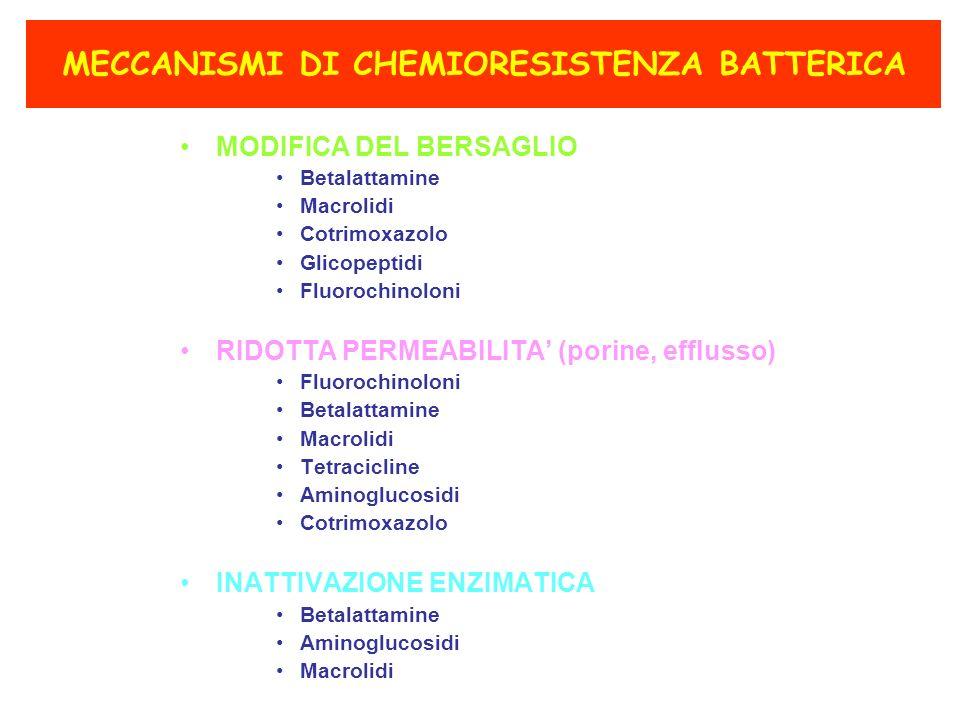 MECCANISMI DI CHEMIORESISTENZA BATTERICA