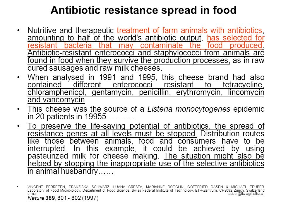 Antibiotic resistance spread in food