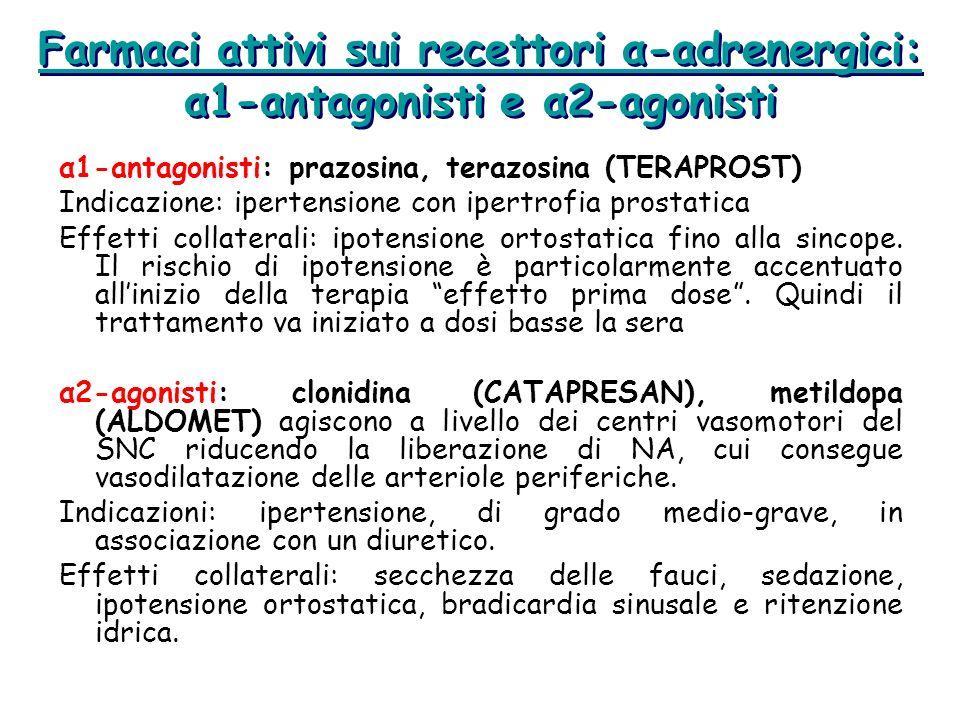 Farmaci attivi sui recettori α-adrenergici: α1-antagonisti e α2-agonisti
