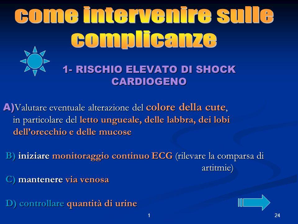 . come intervenire sulle complicanze 1- RISCHIO ELEVATO DI SHOCK