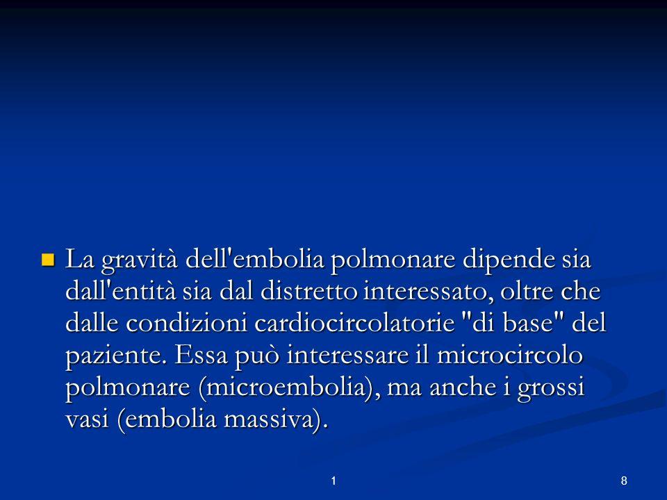 La gravità dell embolia polmonare dipende sia dall entità sia dal distretto interessato, oltre che dalle condizioni cardiocircolatorie di base del paziente. Essa può interessare il microcircolo polmonare (microembolia), ma anche i grossi vasi (embolia massiva).