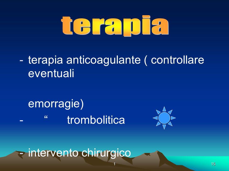 . terapia terapia anticoagulante ( controllare eventuali emorragie)