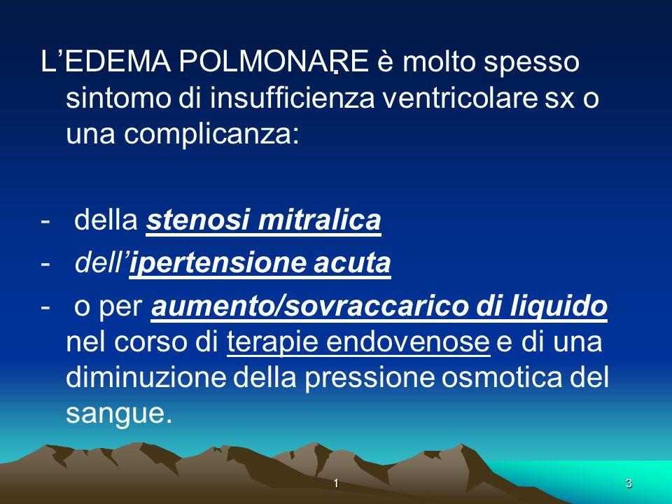 . L'EDEMA POLMONARE è molto spesso sintomo di insufficienza ventricolare sx o una complicanza: della stenosi mitralica.