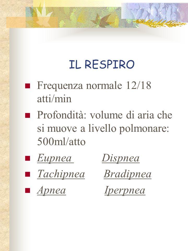 IL RESPIRO Frequenza normale 12/18 atti/min. Profondità: volume di aria che si muove a livello polmonare: 500ml/atto.