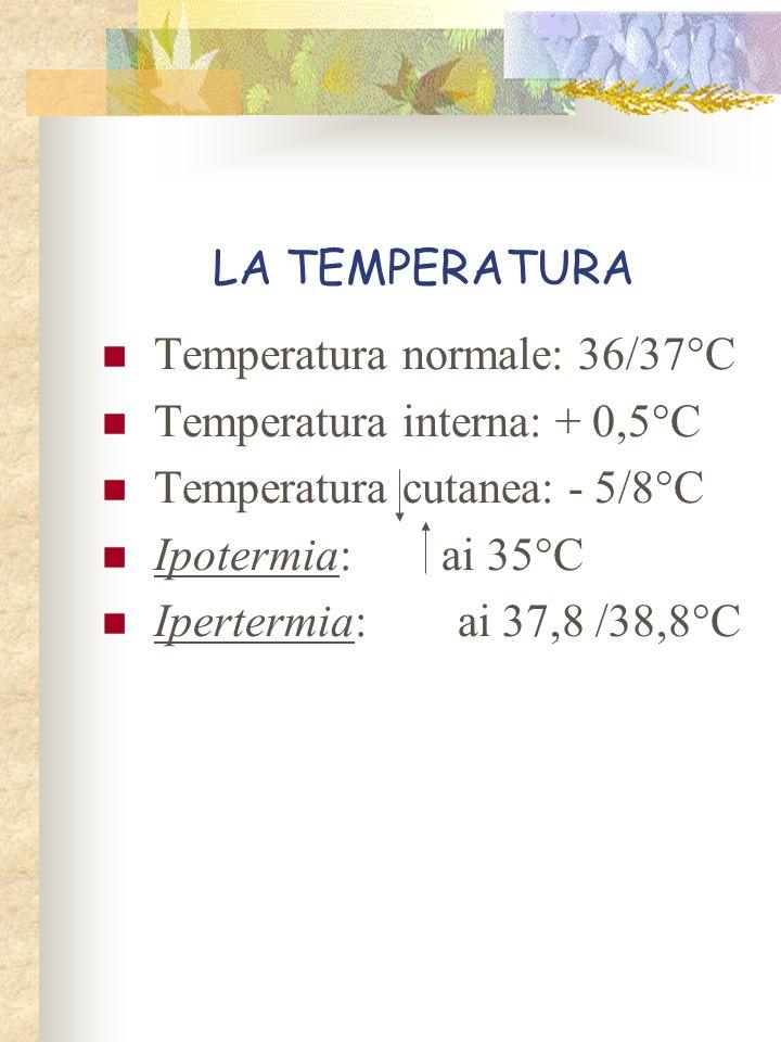 LA TEMPERATURA Temperatura normale: 36/37°C. Temperatura interna: + 0,5°C. Temperatura cutanea: - 5/8°C.
