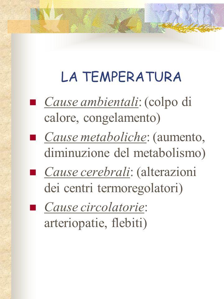 LA TEMPERATURA Cause ambientali: (colpo di calore, congelamento) Cause metaboliche: (aumento, diminuzione del metabolismo)