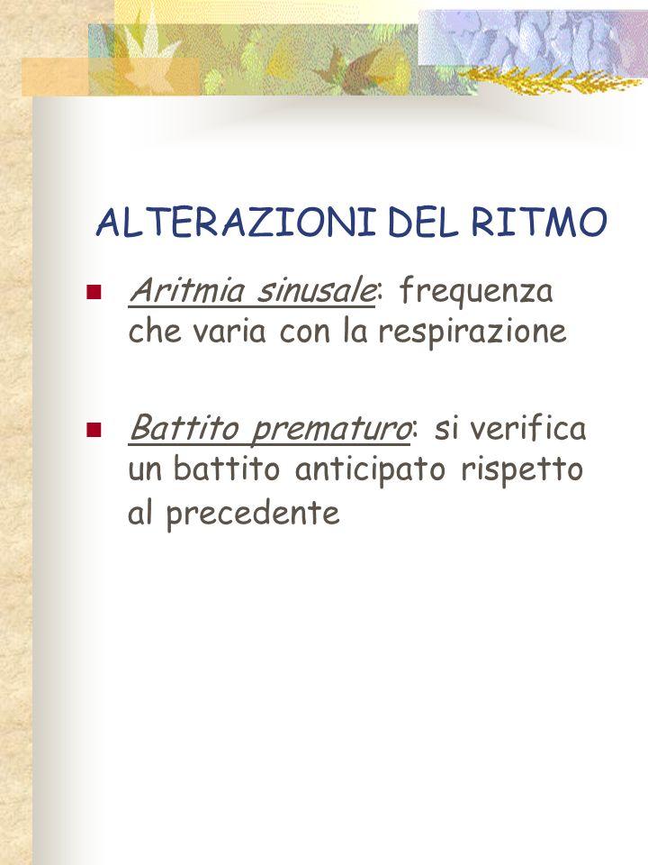 ALTERAZIONI DEL RITMO Aritmia sinusale: frequenza che varia con la respirazione.