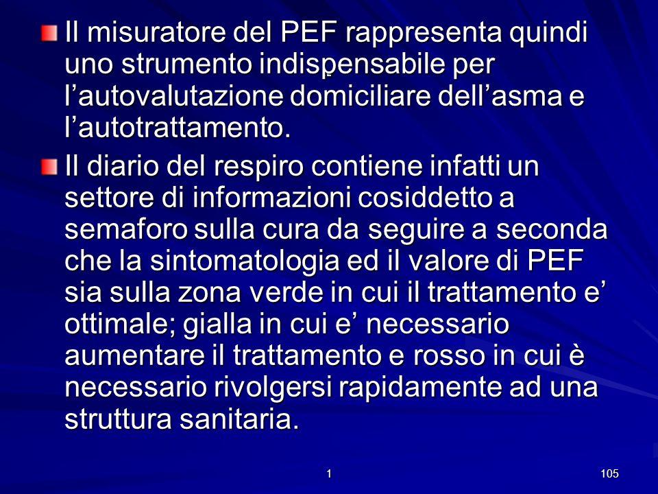 Il misuratore del PEF rappresenta quindi uno strumento indispensabile per l'autovalutazione domiciliare dell'asma e l'autotrattamento.