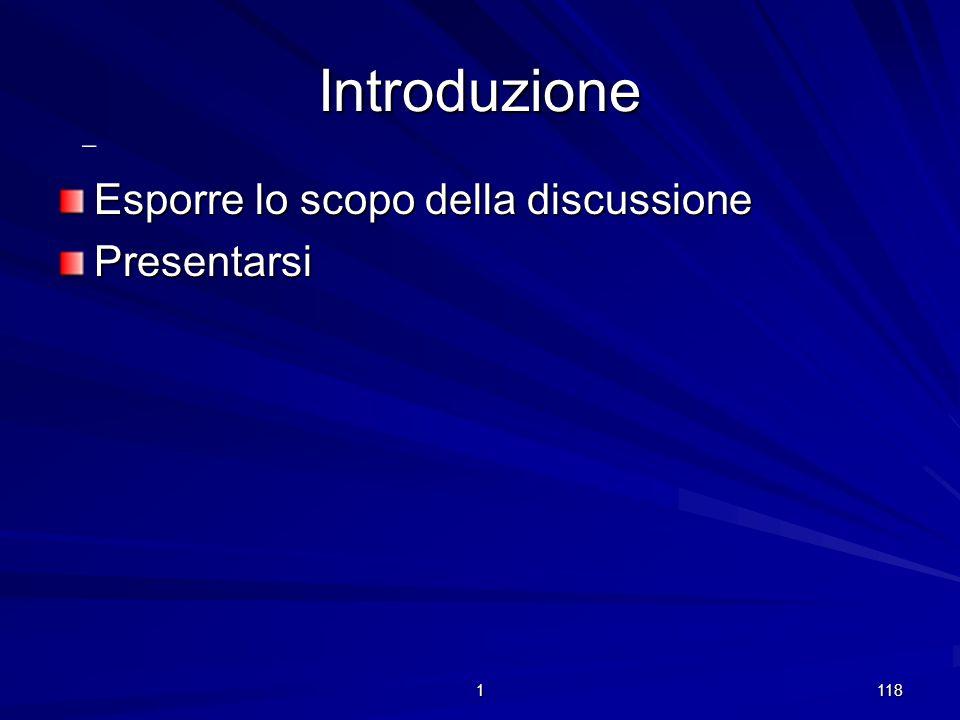 Introduzione - Esporre lo scopo della discussione Presentarsi 1