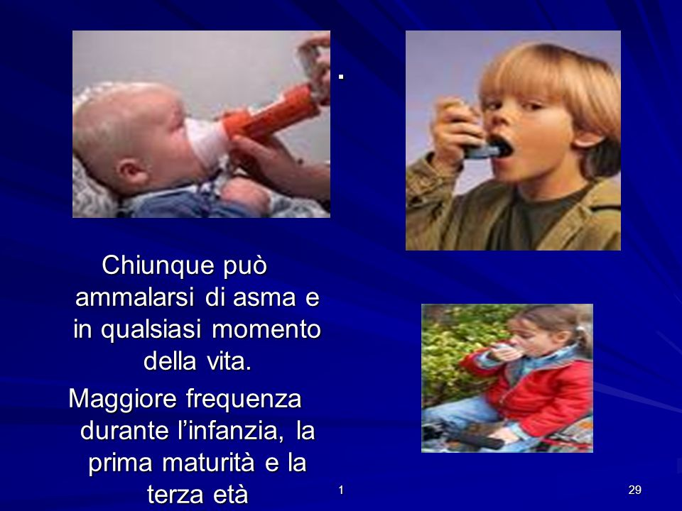 Chiunque può ammalarsi di asma e in qualsiasi momento della vita.