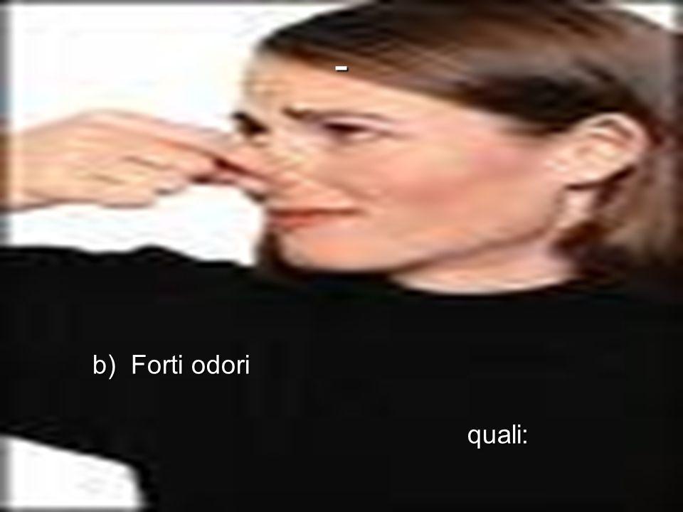 - b) Forti odori quali: 1