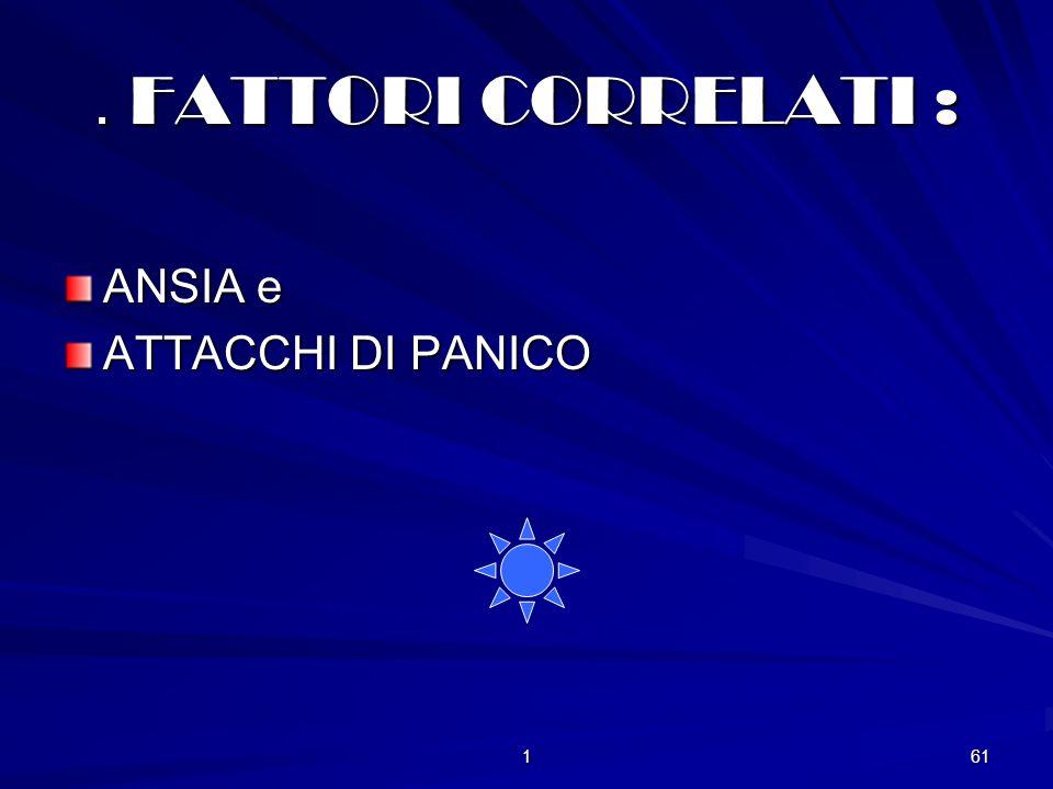 . FATTORI CORRELATI : ANSIA e ATTACCHI DI PANICO 1