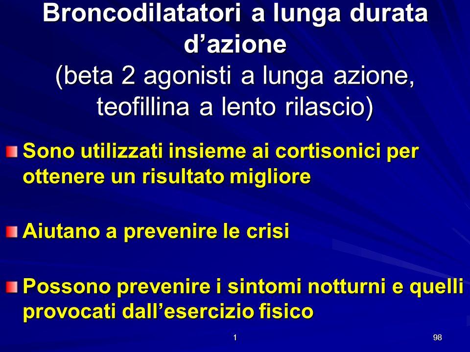 Broncodilatatori a lunga durata d'azione (beta 2 agonisti a lunga azione, teofillina a lento rilascio)