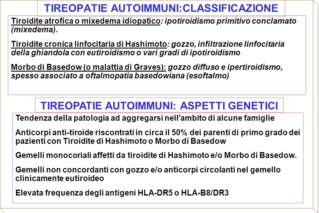 TIREOPATIE AUTOIMMUNI:CLASSIFICAZIONE