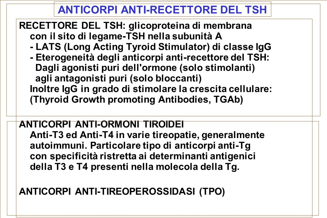 ANTICORPI ANTI-RECETTORE DEL TSH