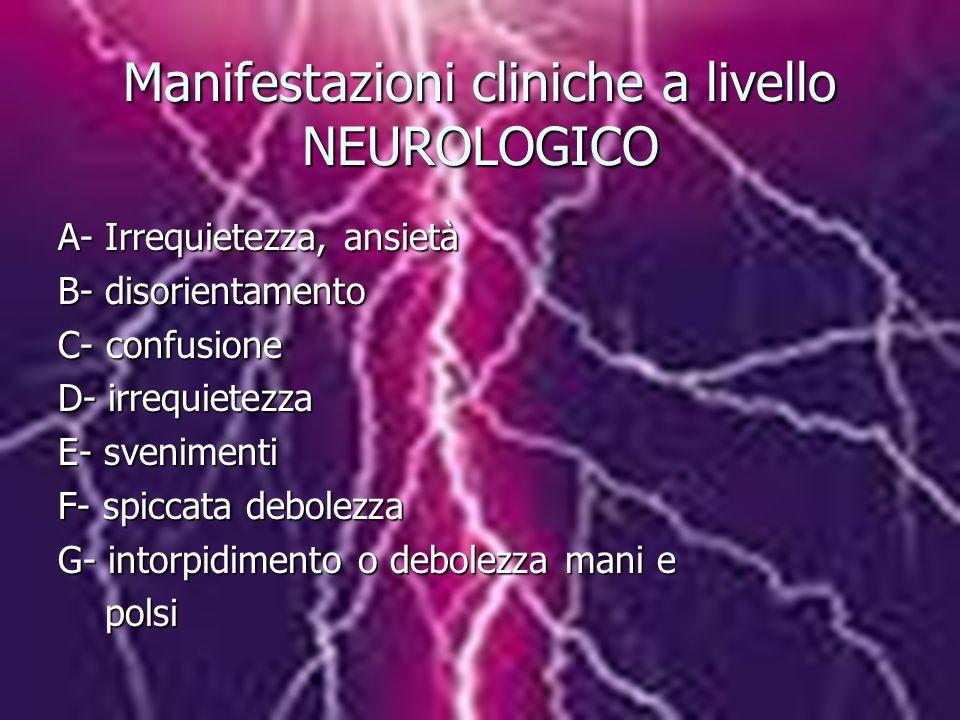 Manifestazioni cliniche a livello NEUROLOGICO