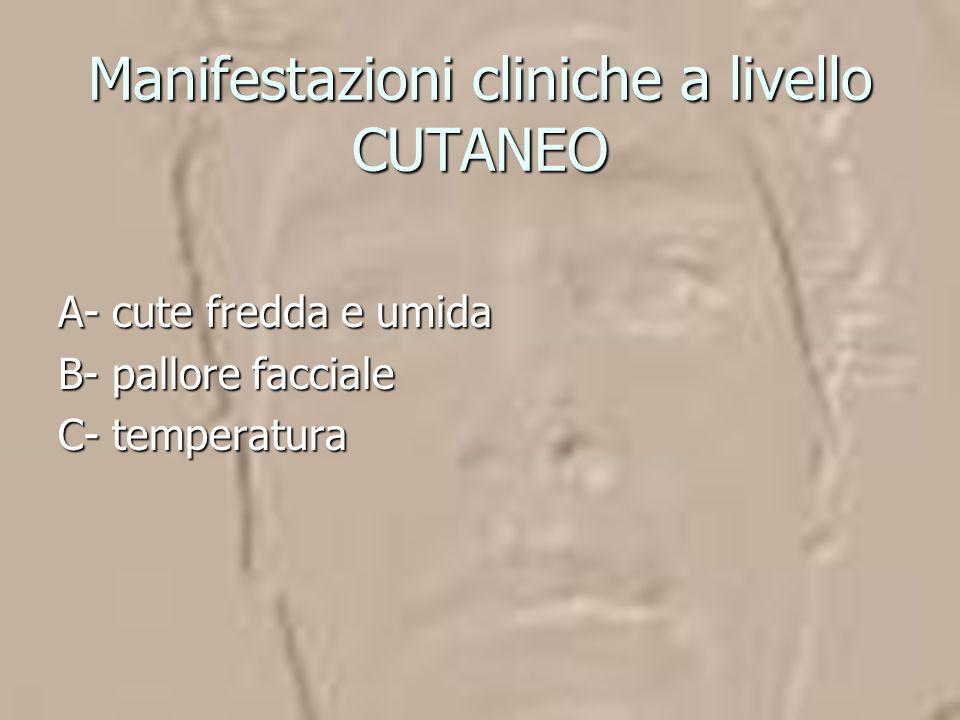 Manifestazioni cliniche a livello CUTANEO