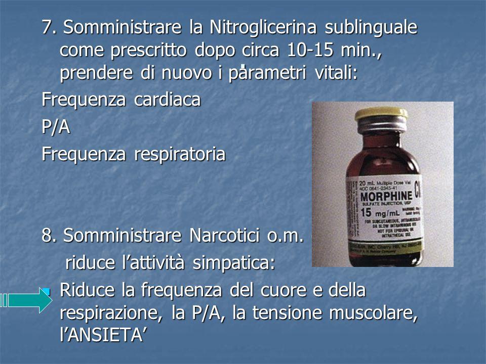 7. Somministrare la Nitroglicerina sublinguale come prescritto dopo circa 10-15 min., prendere di nuovo i parametri vitali: