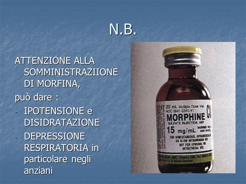 N.B. ATTENZIONE ALLA SOMMINISTRAZIIONE DI MORFINA, può dare :