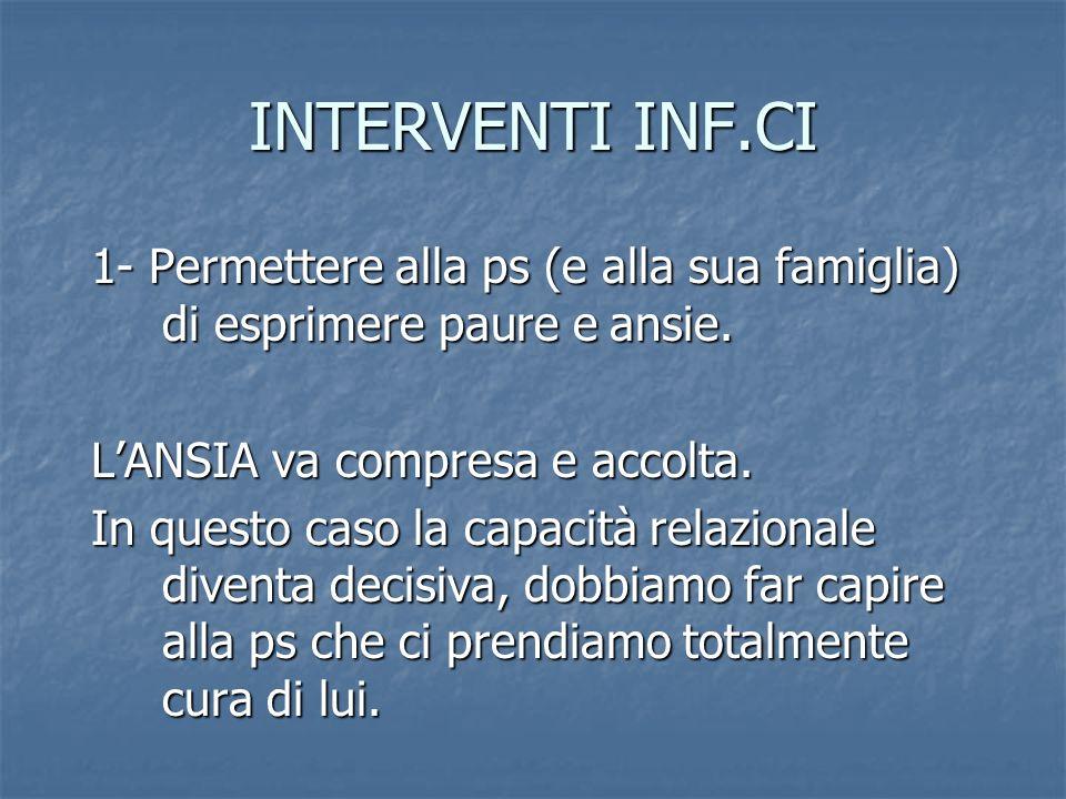 INTERVENTI INF.CI 1- Permettere alla ps (e alla sua famiglia) di esprimere paure e ansie. L'ANSIA va compresa e accolta.