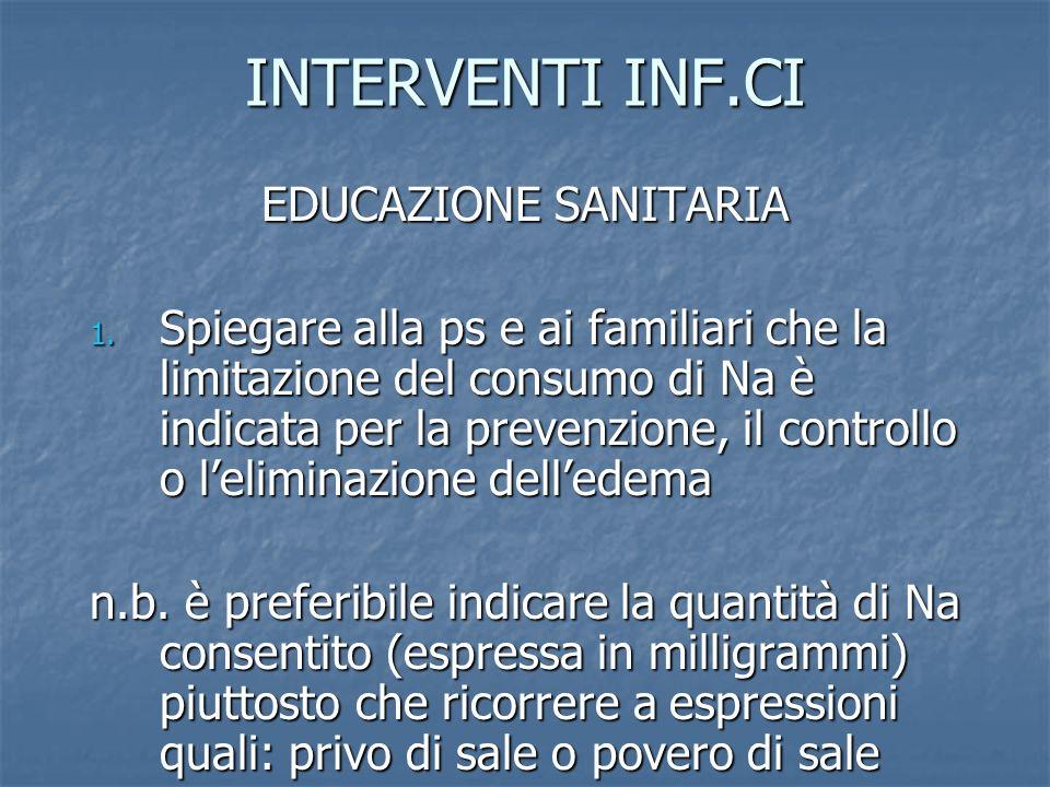 INTERVENTI INF.CI EDUCAZIONE SANITARIA