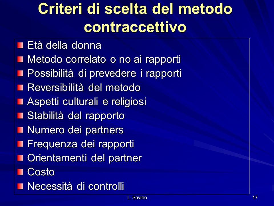 Criteri di scelta del metodo contraccettivo